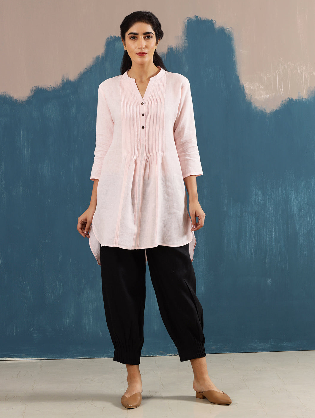 Satori Pleated Tunic in Blush