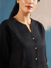 Load image into Gallery viewer, Roshi Linen Top in Black