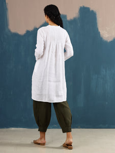 Satori Pleated Tunic in White