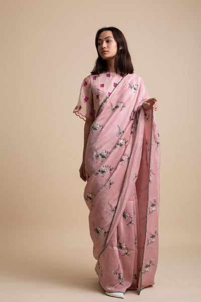 Embroidered Saree with Scallop Edges