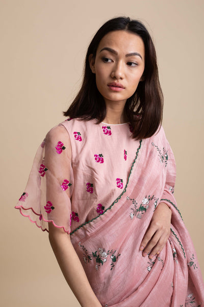 Floral Embroidered Blouse with Organza Sleeve