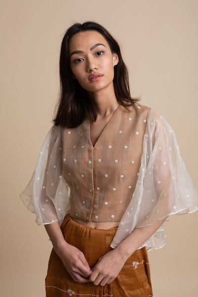 Organza Overlay Blouse with Drape Sleeve