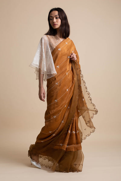 Embroidered Saree with Organza Panel