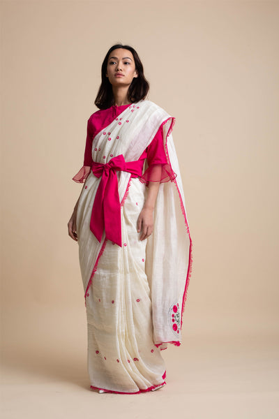 3D Embroidery Saree with Frayed Edges