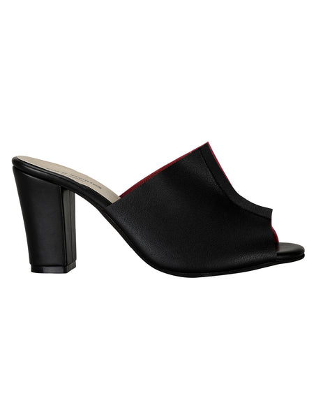 Two Toned Mules - Black