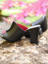 Load image into Gallery viewer, Two Toned Mules - Black