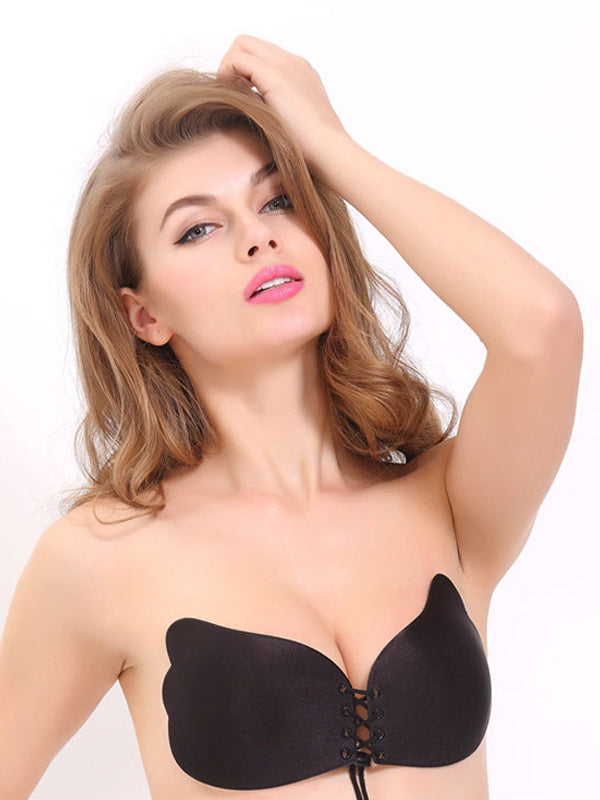 f6a4f6f91a Soft Lace-Up Front Wing Shape Strapless Self Adhesive Bra - TopDressy