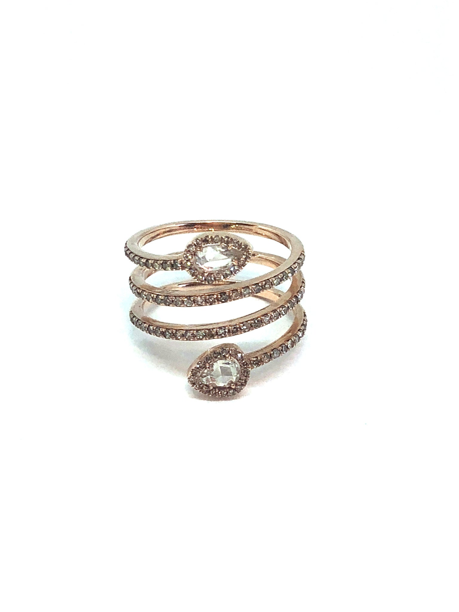 Rose Gold and Diamond Wrap Ring with Diamond Accent Stones