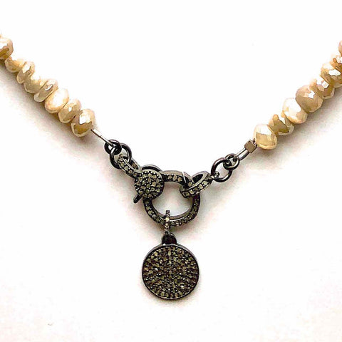 Moonstone Necklace with Diamond Chip Pendant and Diamond Clasp