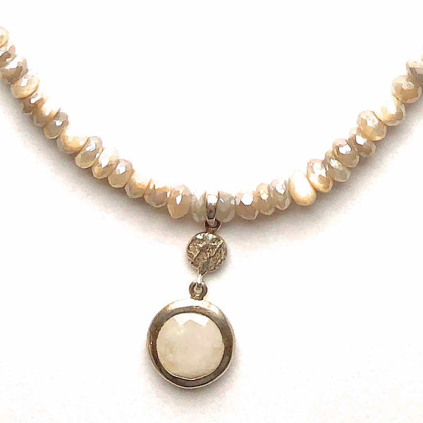 Moonstone Necklace with Moonstone and Silver Drop Pendant