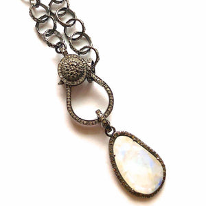 Moonstone with Diamond Accent and Diamond Clasp Larger Oxidized Silver Link Chain