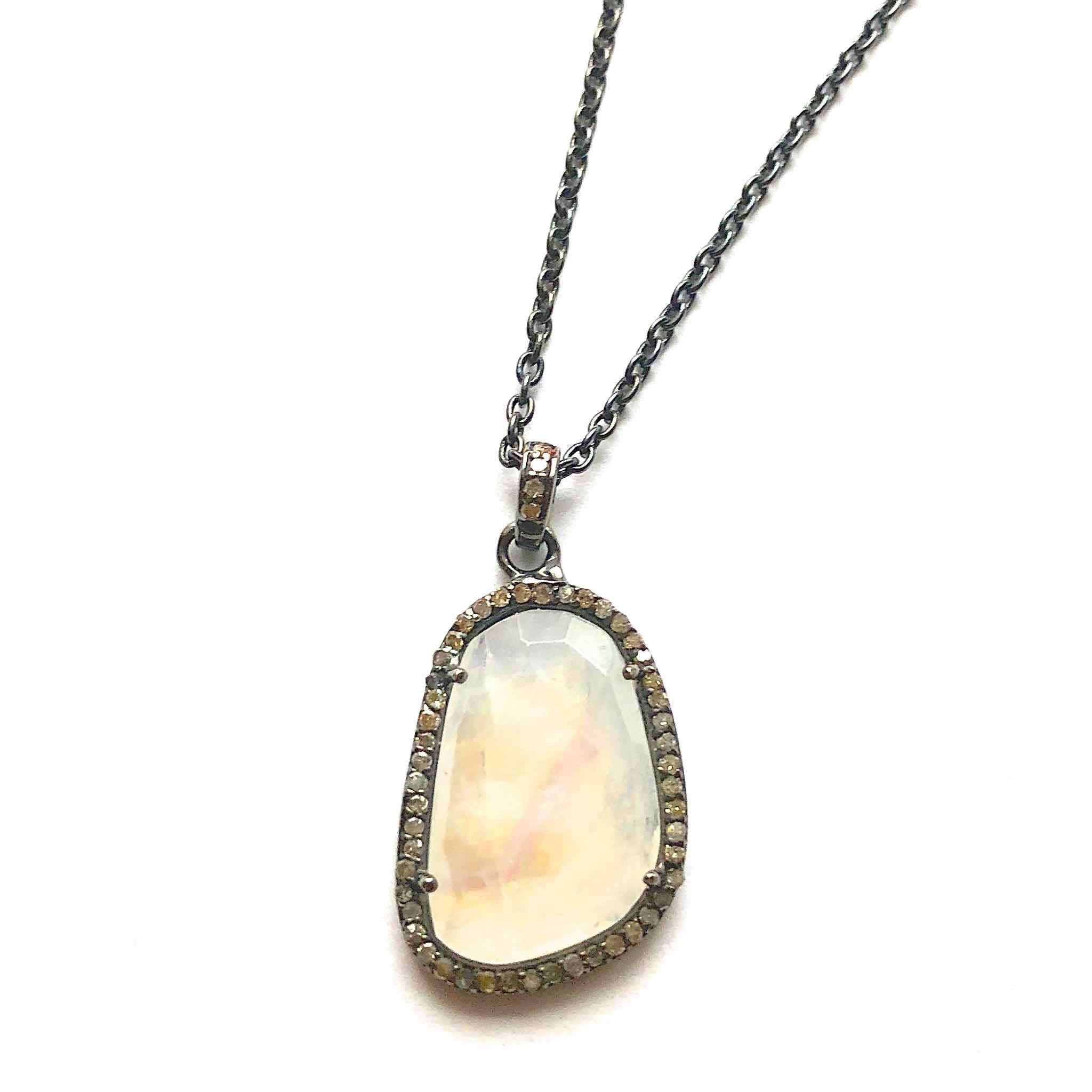 Moonstone with Diamond Accent Pendant on Black Delicate Chain Necklace