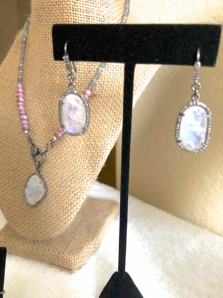 Moonstone and Diamond Drop Earrings