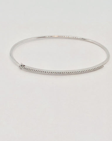 Single Row Diamond and White Gold Delicate Bracelet