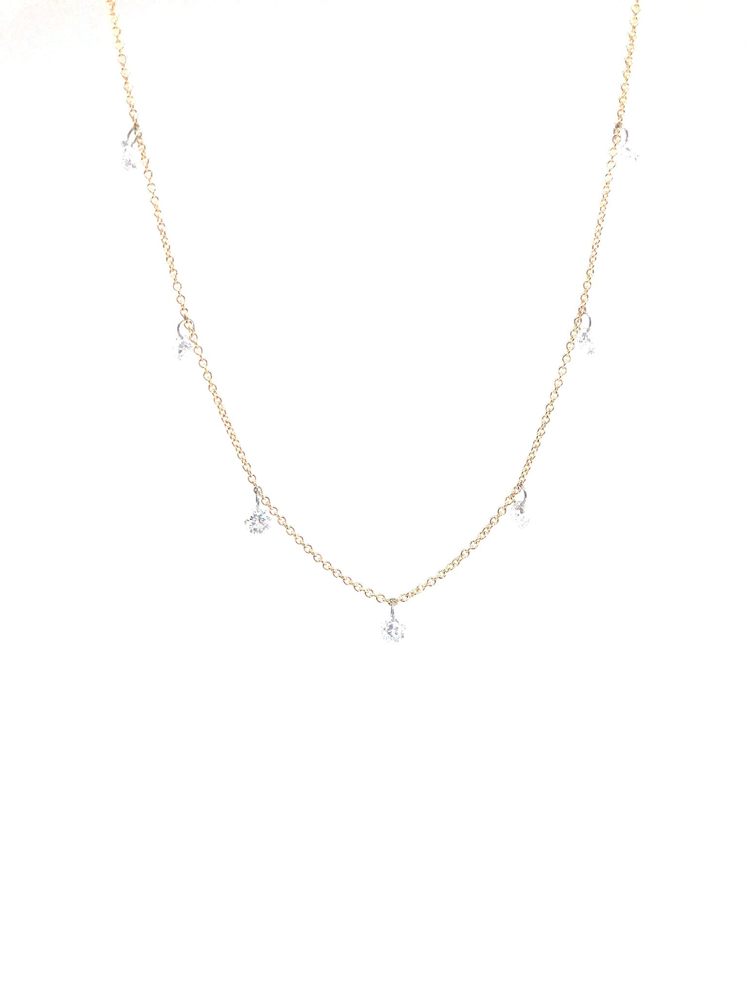 Diamond Drop Gold Necklace