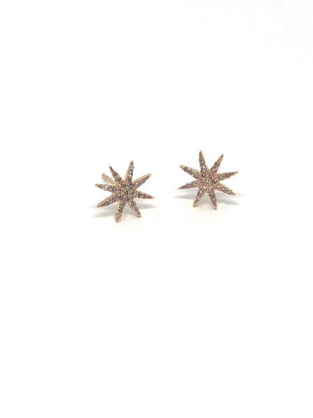 Starburst Gold and Diamond Earrings