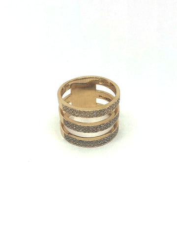 Triple Band Gold and Diamond Ring
