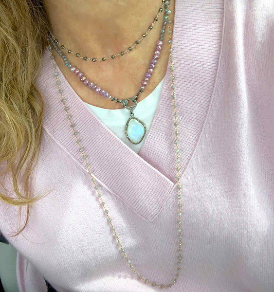 Pink Sapphire and Labradorite Necklace with Diamond Clasp and Moonstone and Diamond Pendant