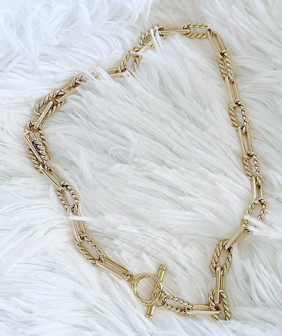 14K Gold-Filled Textured Paperclip Necklace - Vibes Jewelry