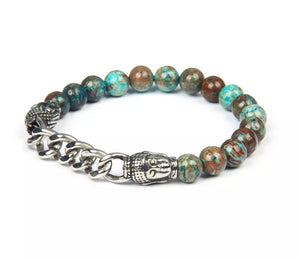 Double Buddha Men's Wristband with Stainless Steel Chain