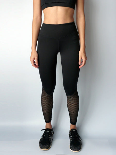 Black stream lace panel legging front view