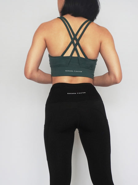 Dash Sports Bra- DARK GREEN - Banana Fighter