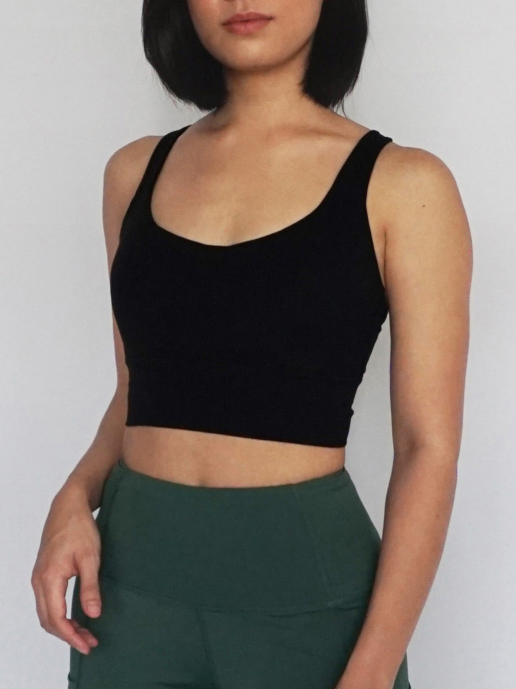 Longline Cross Sports Bra- BLACK