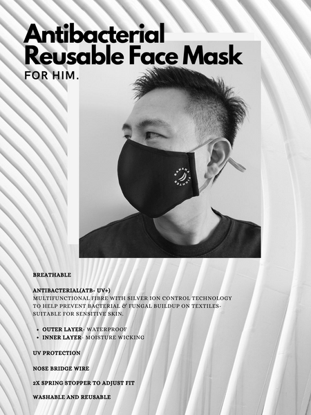 Antibacterial Reusable Face Mask- BLACK