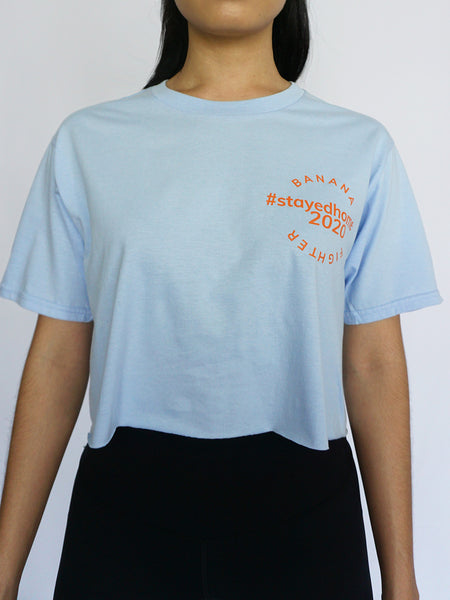 #StayedHome2020 Cropped Tee- LIGHT BLUE