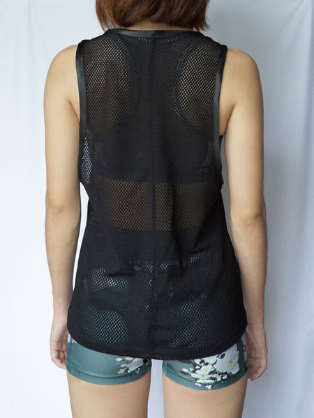 Noir mesh tank top loose back