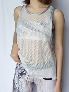 Blanc Mesh Tank - Banana Fighter