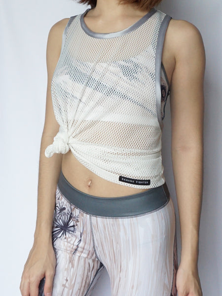 Blanc mesh tank top tied up front