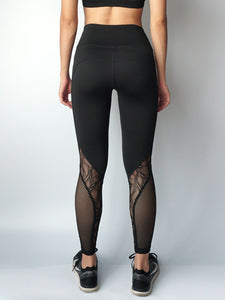 Black stream lace panel legging back view