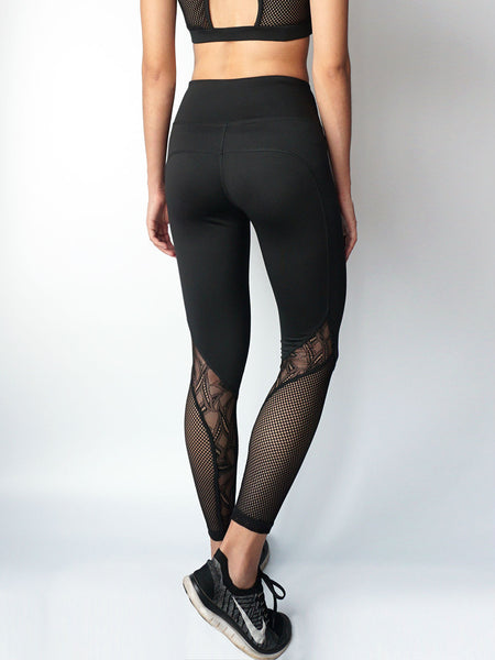 Black stream lace panel legging details view
