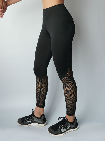 Black stream lace panel legging side view