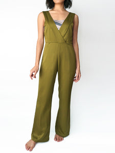 Olive pocketed vneck silk jumpsuit