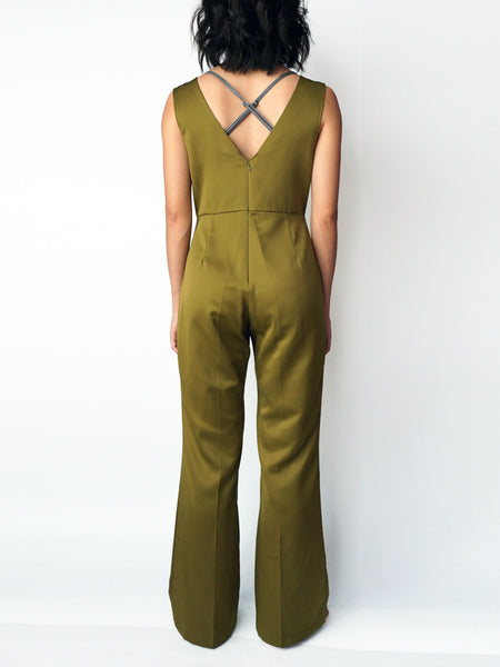 Olive pocketed vneck silk jumpsuit back