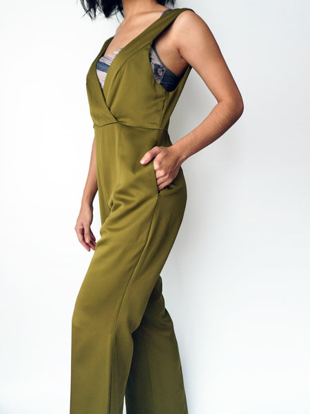 Olive pocketed vneck silk jumpsuit side