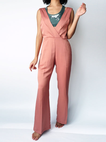 Dusty pocketed vneck silk jumpsuit front