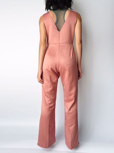 Dusty pocketed vneck silk jumpsuit back