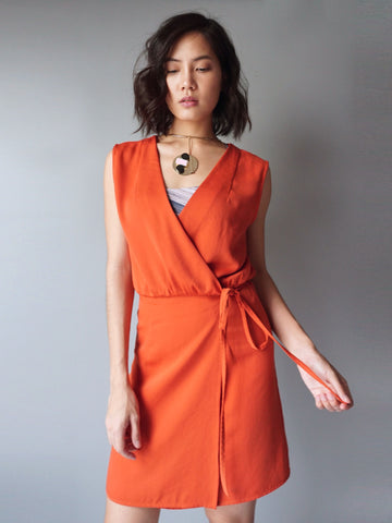 Orange wrap around drawstring dress front