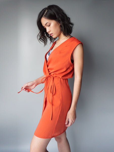 Orange wrap around drawstring dress side