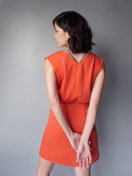 Orange wrap around drawstring dress back