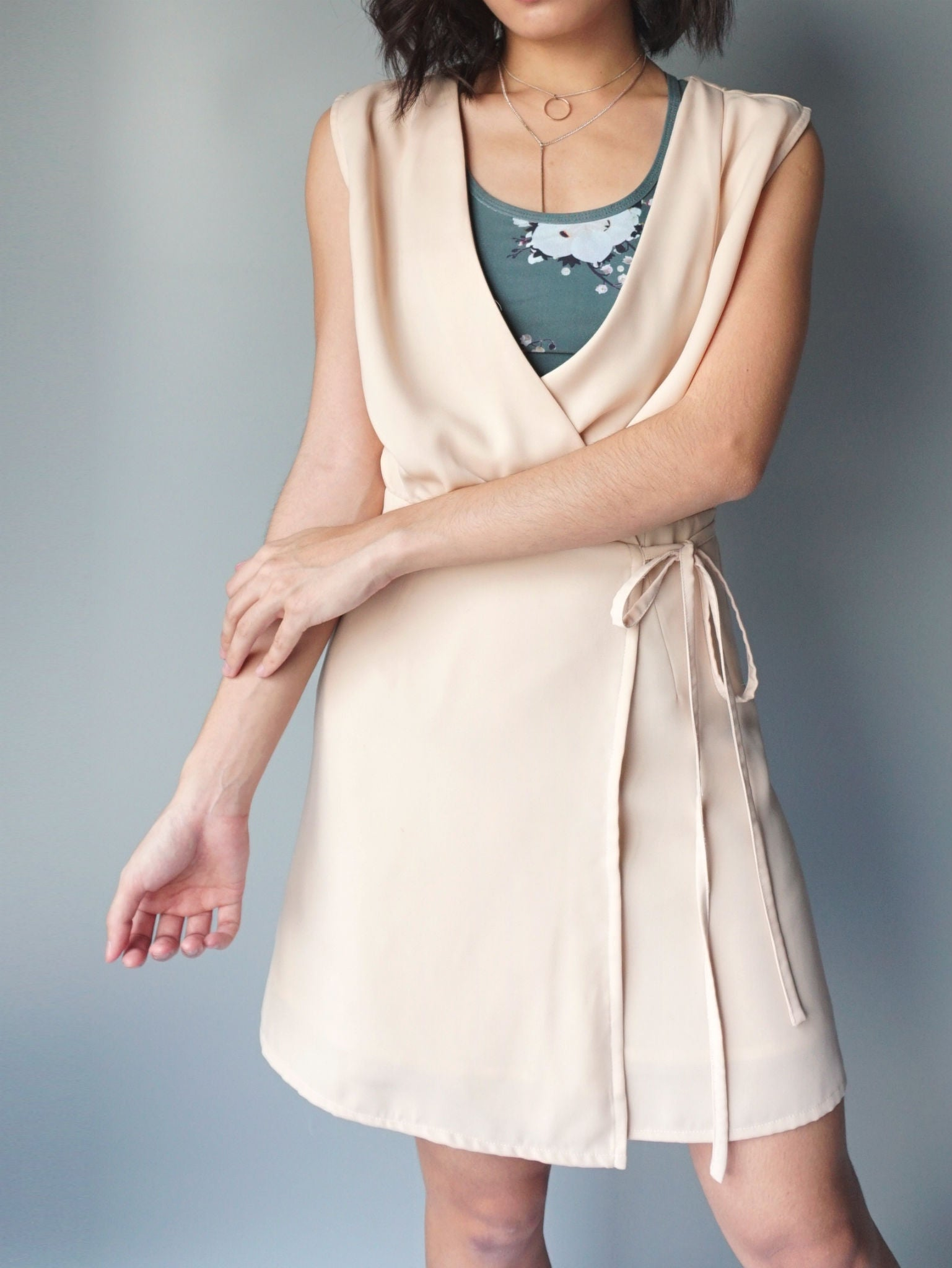 Almond wrap around drawstring dress