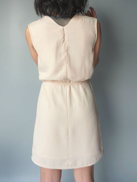 Almond wrap around drawstring dress back view