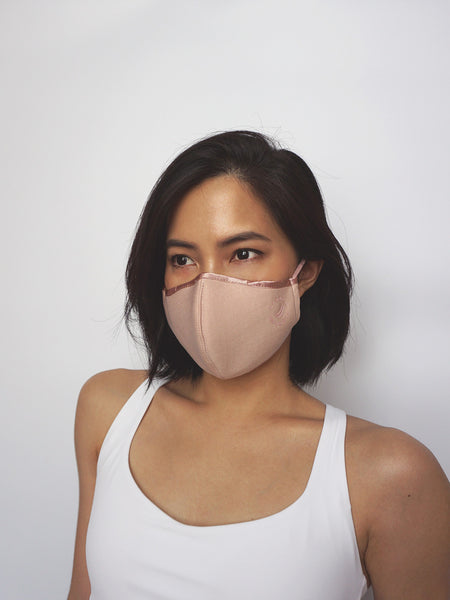 Antibacterial Face Mask w Filter Pocket - DUSTY PINK