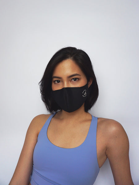 Antibacterial Face Mask w Filter Pocket - BLACK