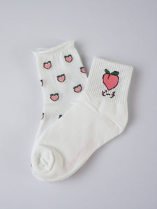Peach High Ankle Socks Set - Banana Fighter