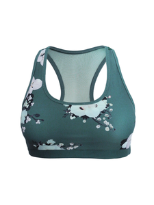 Nara green floral printed sports bra