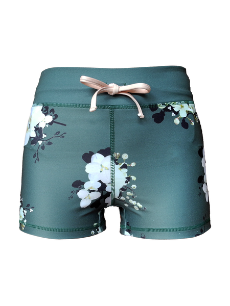 Nara green floral printed running shorts front